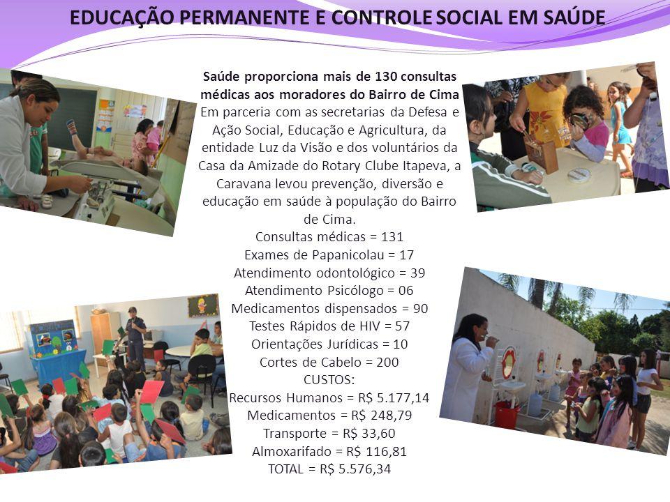 EDUCAÇÃO PERMANENTE E CONTROLE SOCIAL EM SAÚDE Saúde proporciona mais de 130 consultas médicas aos moradores do Bairro de Cima Em parceria com as secr