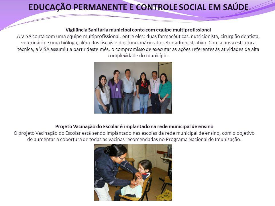 EDUCAÇÃO PERMANENTE E CONTROLE SOCIAL EM SAÚDE Vigilância Sanitária municipal conta com equipe multiprofissional A VISA conta com uma equipe multiprof