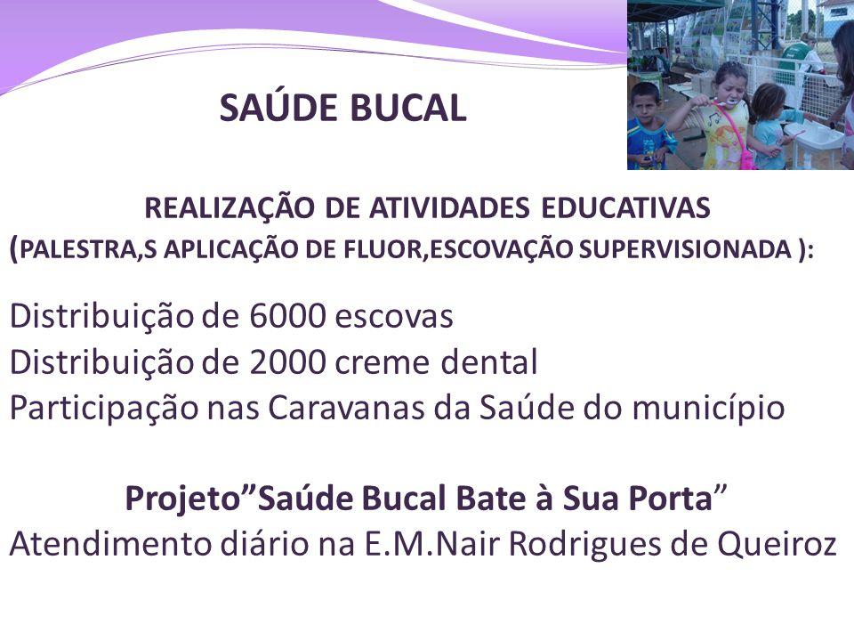 SAÚDE BUCAL REALIZAÇÃO DE ATIVIDADES EDUCATIVAS ( PALESTRA,S APLICAÇÃO DE FLUOR,ESCOVAÇÃO SUPERVISIONADA ): Distribuição de 6000 escovas Distribuição