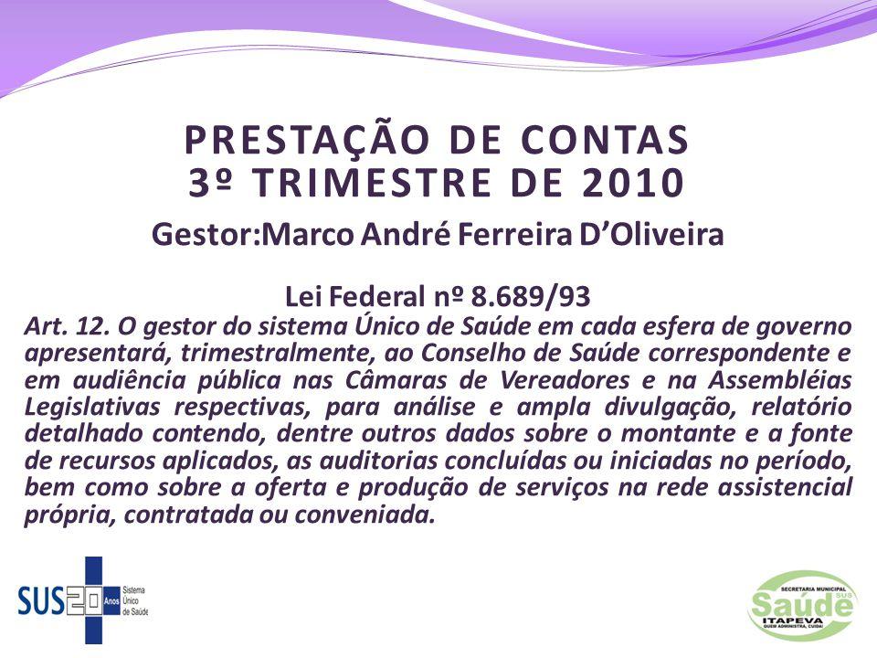 PRESTAÇÃO DE CONTAS 3º TRIMESTRE DE 2010 Gestor:Marco André Ferreira D'Oliveira Lei Federal nº 8.689/93 Art. 12. O gestor do sistema Único de Saúde em