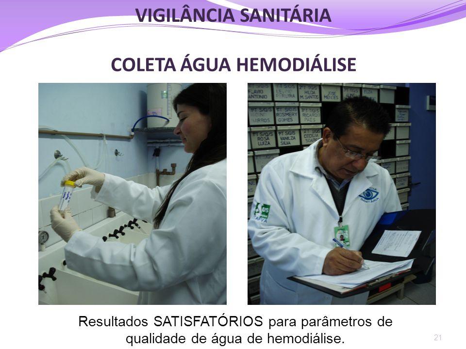 COLETA ÁGUA HEMODIÁLISE 21 Resultados SATISFATÓRIOS para parâmetros de qualidade de água de hemodiálise. VIGILÂNCIA SANITÁRIA