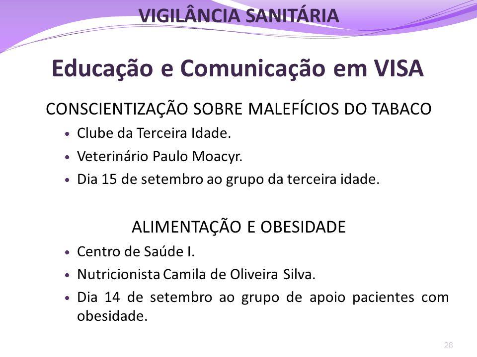 Educação e Comunicação em VISA CONSCIENTIZAÇÃO SOBRE MALEFÍCIOS DO TABACO  Clube da Terceira Idade.  Veterinário Paulo Moacyr.  Dia 15 de setembro