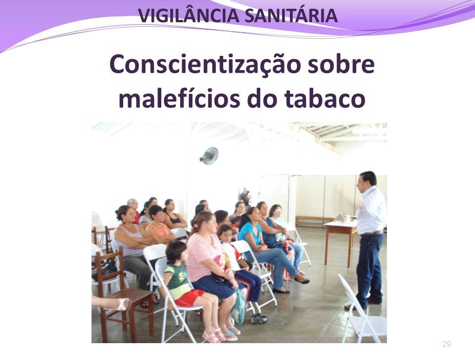 Conscientização sobre malefícios do tabaco 29 VIGILÂNCIA SANITÁRIA