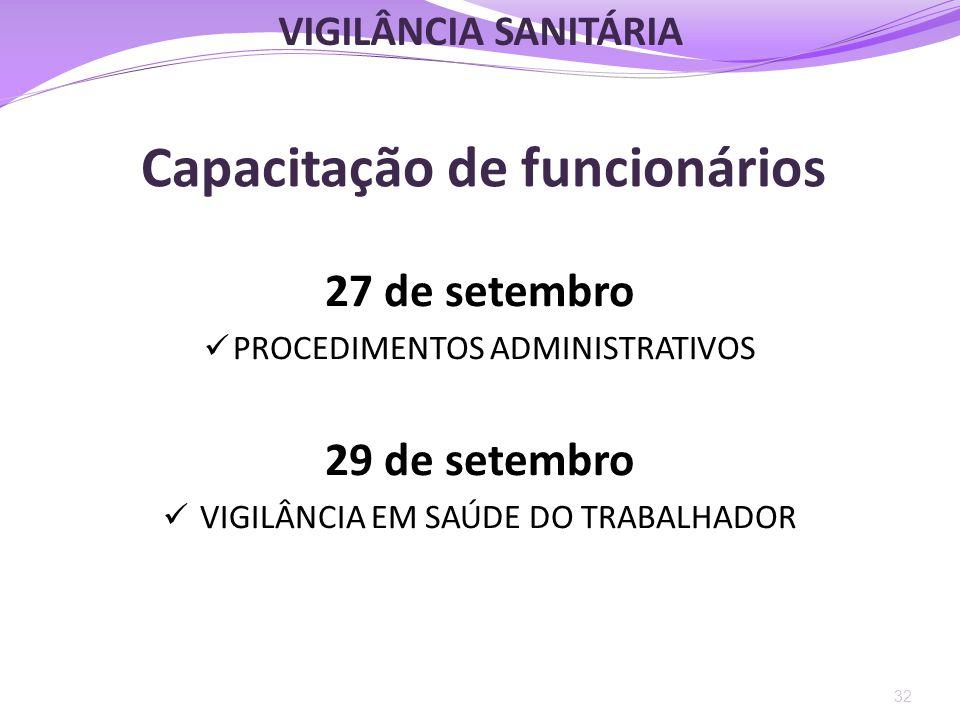 Capacitação de funcionários 27 de setembro  PROCEDIMENTOS ADMINISTRATIVOS 29 de setembro  VIGILÂNCIA EM SAÚDE DO TRABALHADOR 32 VIGILÂNCIA SANITÁRIA