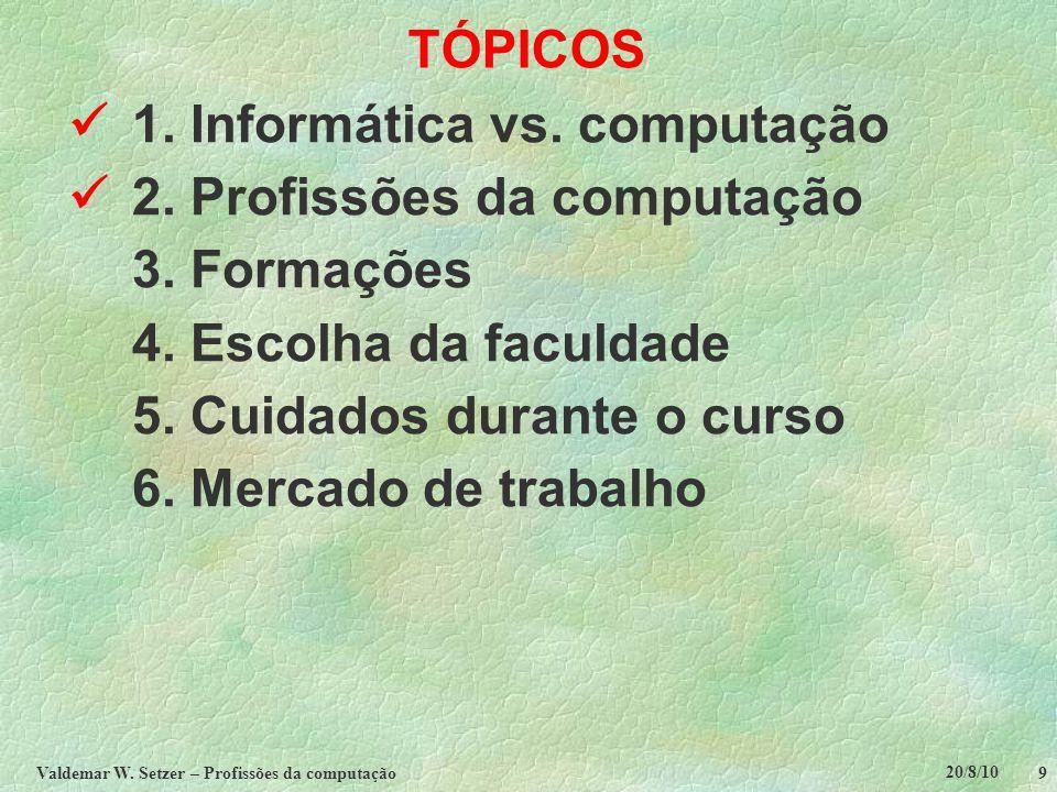 20/8/10 Valdemar W.Setzer – Profissões da computação 20 TÓPICOS  1.