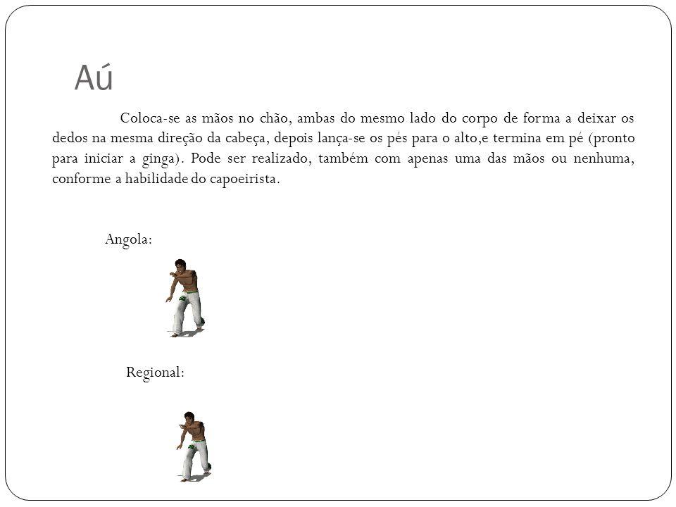 Aú Angola: Regional: Coloca-se as mãos no chão, ambas do mesmo lado do corpo de forma a deixar os dedos na mesma direção da cabeça, depois lança-se os