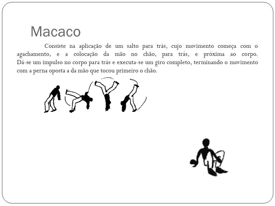 Macaco Consiste na aplicação de um salto para trás, cujo movimento começa com o agachamento, e a colocação da mão no chão, para trás, e próxima ao cor