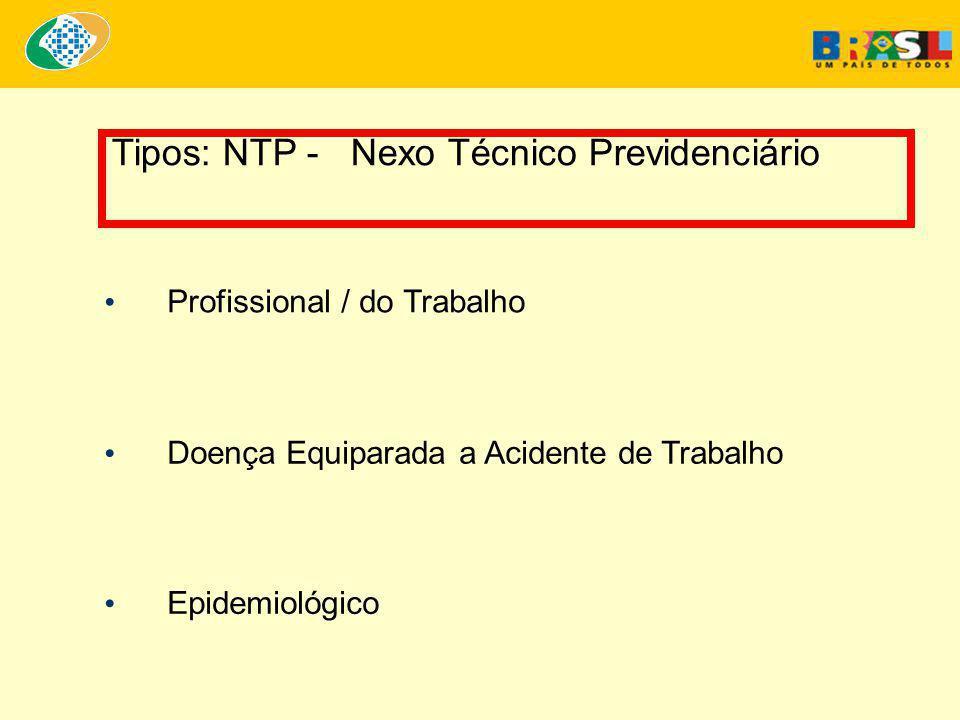 Tipos: NTP - Nexo Técnico Previdenciário • Profissional / do Trabalho • Epidemiológico • Doença Equiparada a Acidente de Trabalho
