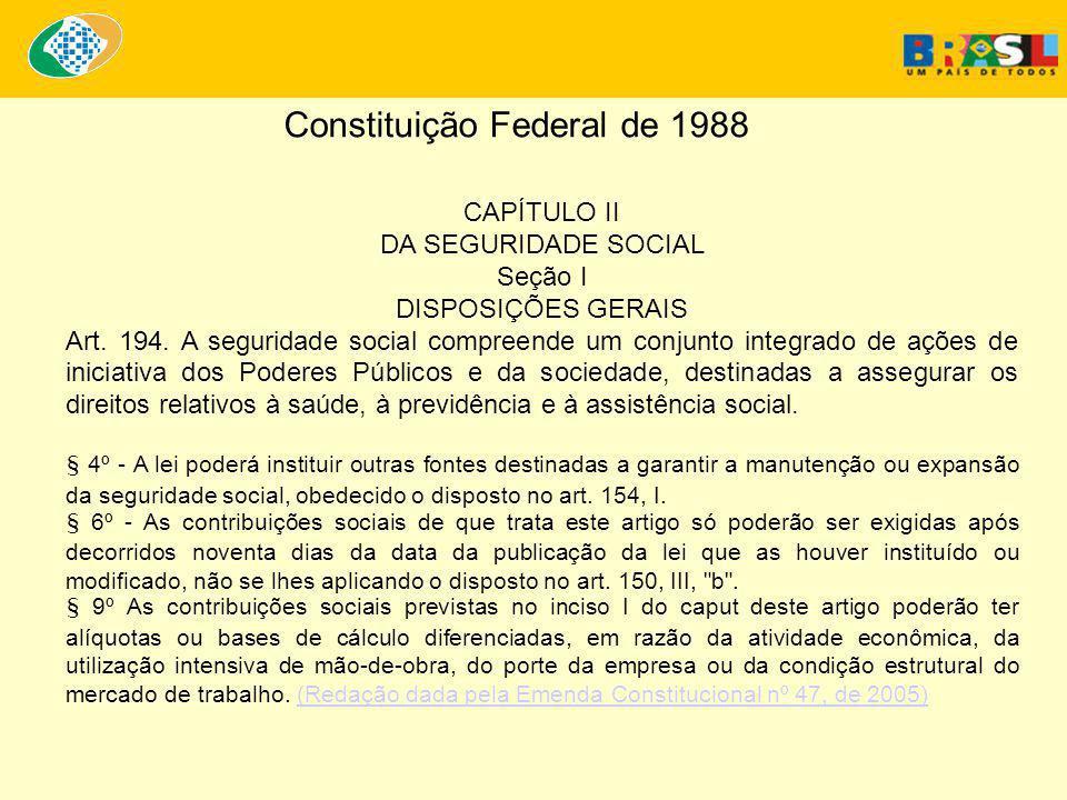 CAPÍTULO II DA SEGURIDADE SOCIAL Seção I DISPOSIÇÕES GERAIS Art.