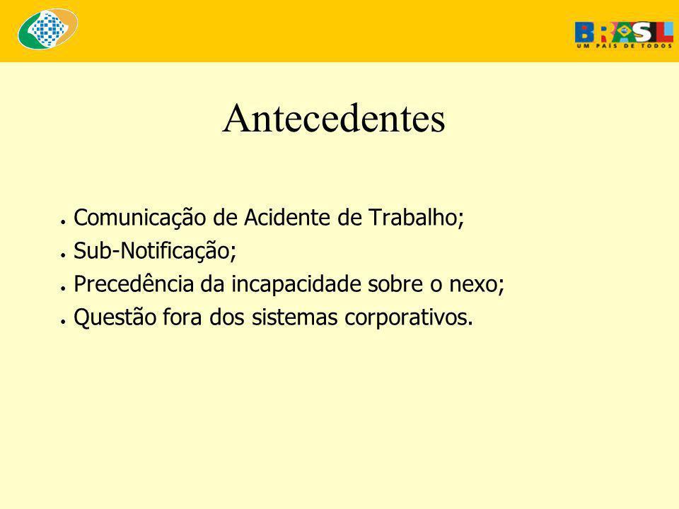 Antecedentes ● Comunicação de Acidente de Trabalho; ● Sub-Notificação; ● Precedência da incapacidade sobre o nexo; ● Questão fora dos sistemas corporativos.