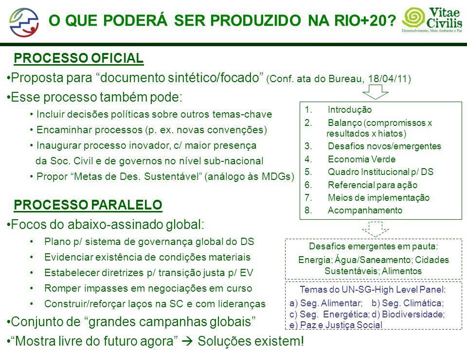 O QUE PODERÁ SER PRODUZIDO NA RIO+20.