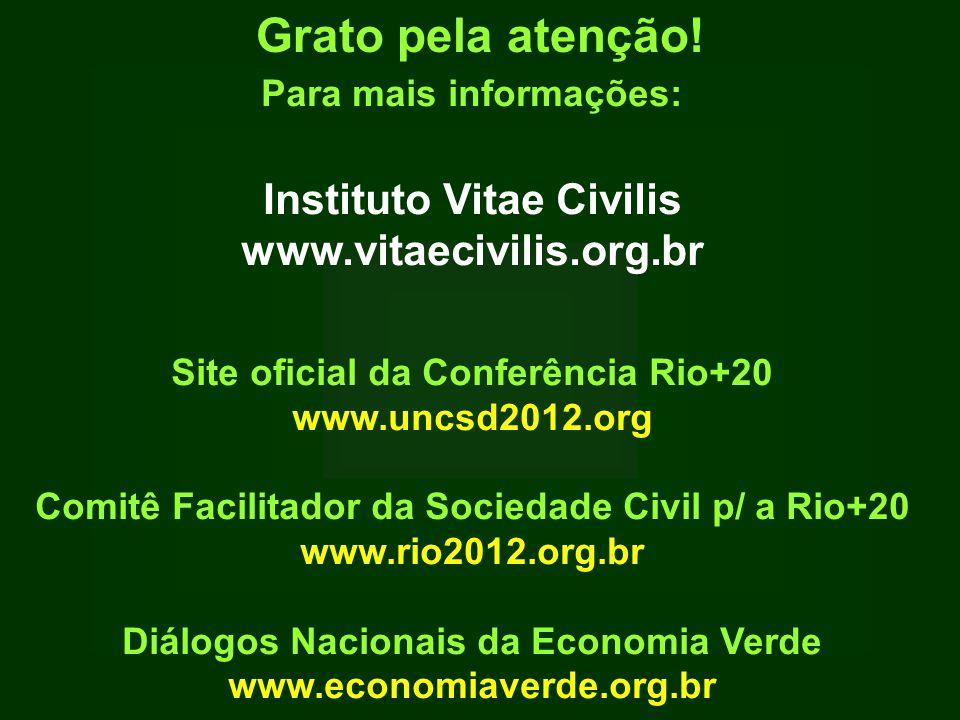 Para mais informações: Instituto Vitae Civilis www.vitaecivilis.org.br Site oficial da Conferência Rio+20 www.uncsd2012.org Comitê Facilitador da Sociedade Civil p/ a Rio+20 www.rio2012.org.br Diálogos Nacionais da Economia Verde www.economiaverde.org.br Grato pela atenção!