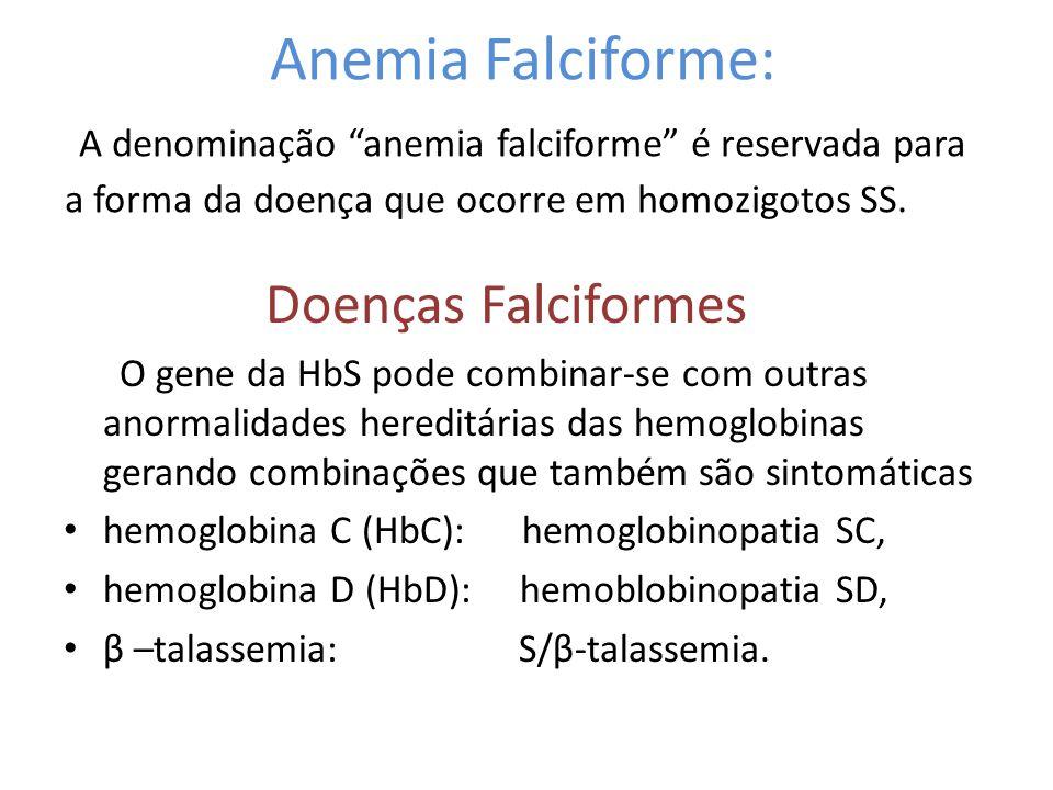 """Anemia Falciforme: A denominação """"anemia falciforme"""" é reservada para a forma da doença que ocorre em homozigotos SS. Doenças Falciformes O gene da Hb"""