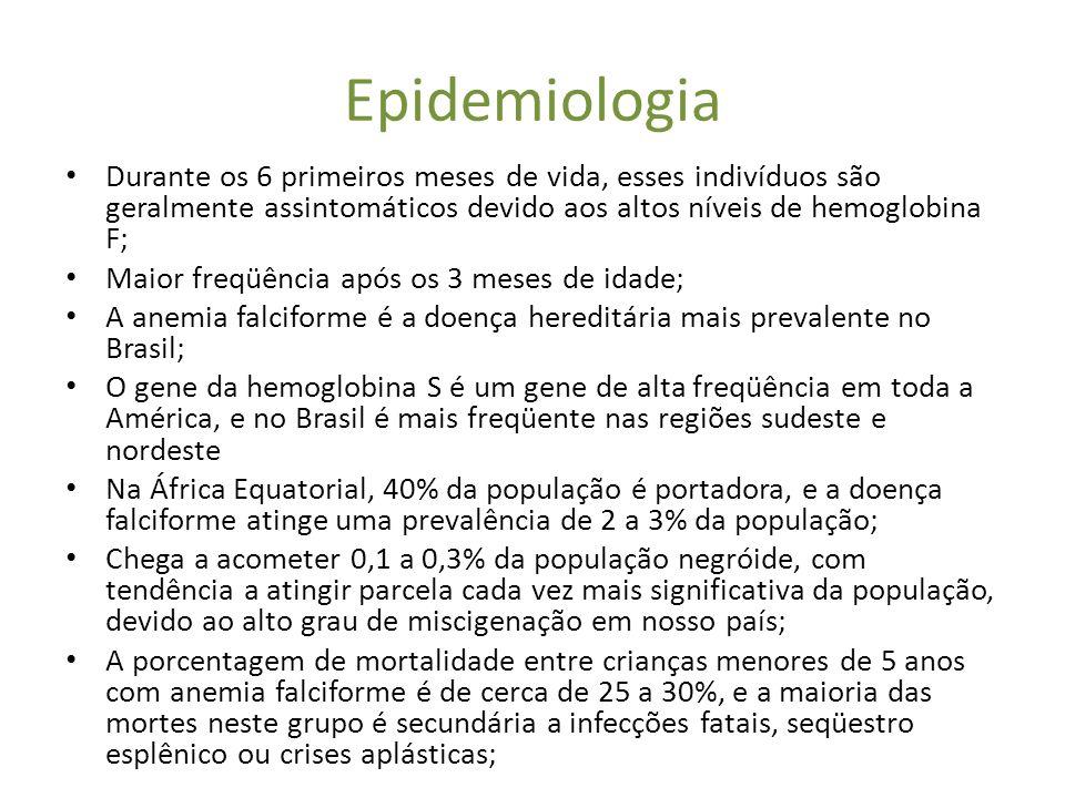 Epidemiologia • Durante os 6 primeiros meses de vida, esses indivíduos são geralmente assintomáticos devido aos altos níveis de hemoglobina F; • Maior