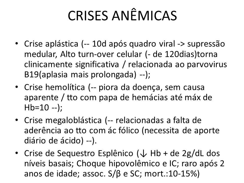 CRISES ANÊMICAS • Crise aplástica (-- 10d após quadro viral -> supressão medular, Alto turn-over celular (- de 120dias)torna clinicamente significativ