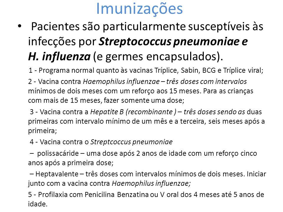 Imunizações • Pacientes são particularmente susceptíveis às infecções por Streptococcus pneumoniae e H. influenza (e germes encapsulados). 1 - Program