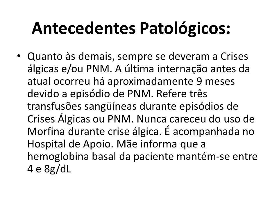 Antecedentes Patológicos: • Quanto às demais, sempre se deveram a Crises álgicas e/ou PNM. A última internação antes da atual ocorreu há aproximadamen