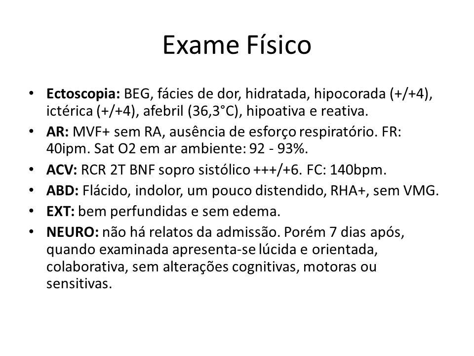 Exames • Na = 137 mEq/L • K = 4,4 mEq/L • Cl = 100 mEq/L • TGO = 44 U/L -/- TGP = 23 U/L • Hemácias = 2,91 milhões -/- Hb = 9,0 g/dL -/- Ht = 24,5% • Leucócitos = 16.000 (57S, 0B, 0E, 4M, 38L); • Plaquetas = 273.000/uL;