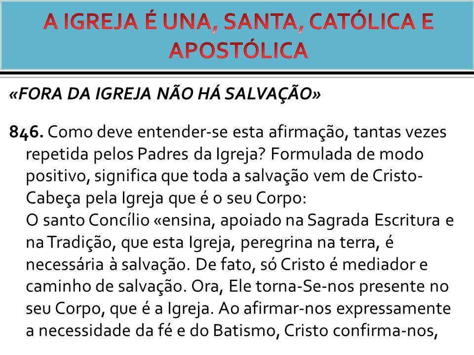 «FORA DA IGREJA NÃO HÁ SALVAÇÃO» 846.