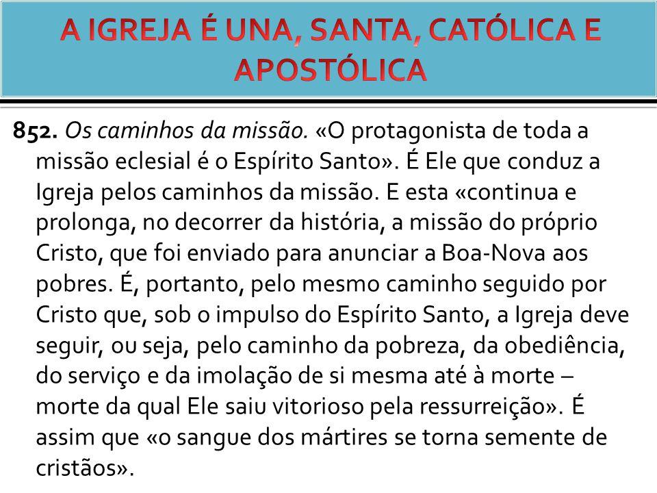 852.Os caminhos da missão. «O protagonista de toda a missão eclesial é o Espírito Santo».