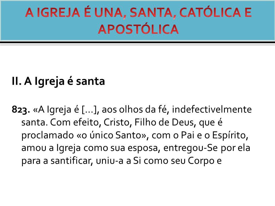 II.A Igreja é santa 823. «A Igreja é [...], aos olhos da fé, indefectivelmente santa.