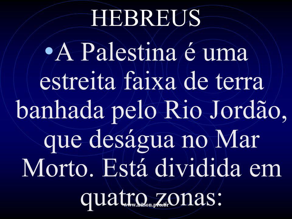 www.nilson.pro.br HEBREUS • Oeste estão as terras férteis e a leste, uma região rochosa e árida.