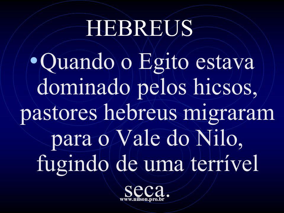 www.nilson.pro.br HEBREUS • Foram bem-sucedidos, graças a proteção de José, um hebreu que tinha sido vendido pelos seus irmãos e que depois de muitas peripécias se notabilizara perante o faraó.
