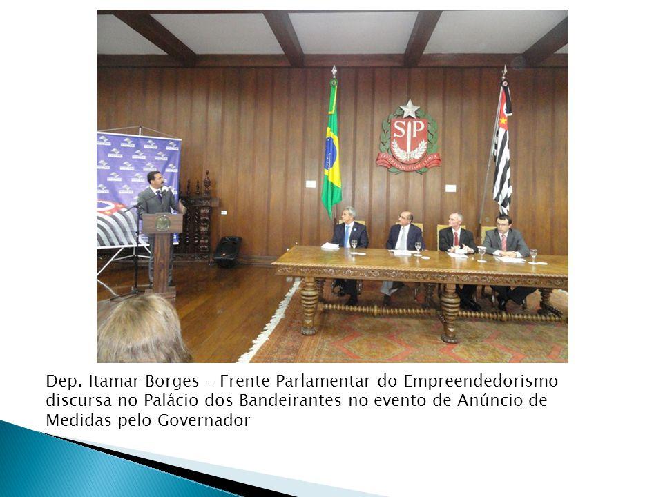 Dep. Itamar Borges - Frente Parlamentar do Empreendedorismo discursa no Palácio dos Bandeirantes no evento de Anúncio de Medidas pelo Governador