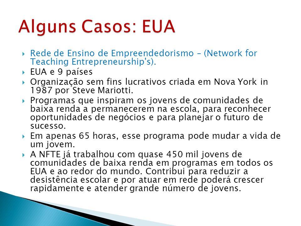  Rede de Ensino de Empreendedorismo – (Network for Teaching Entrepreneurship's).  EUA e 9 países  Organização sem fins lucrativos criada em Nova Yo