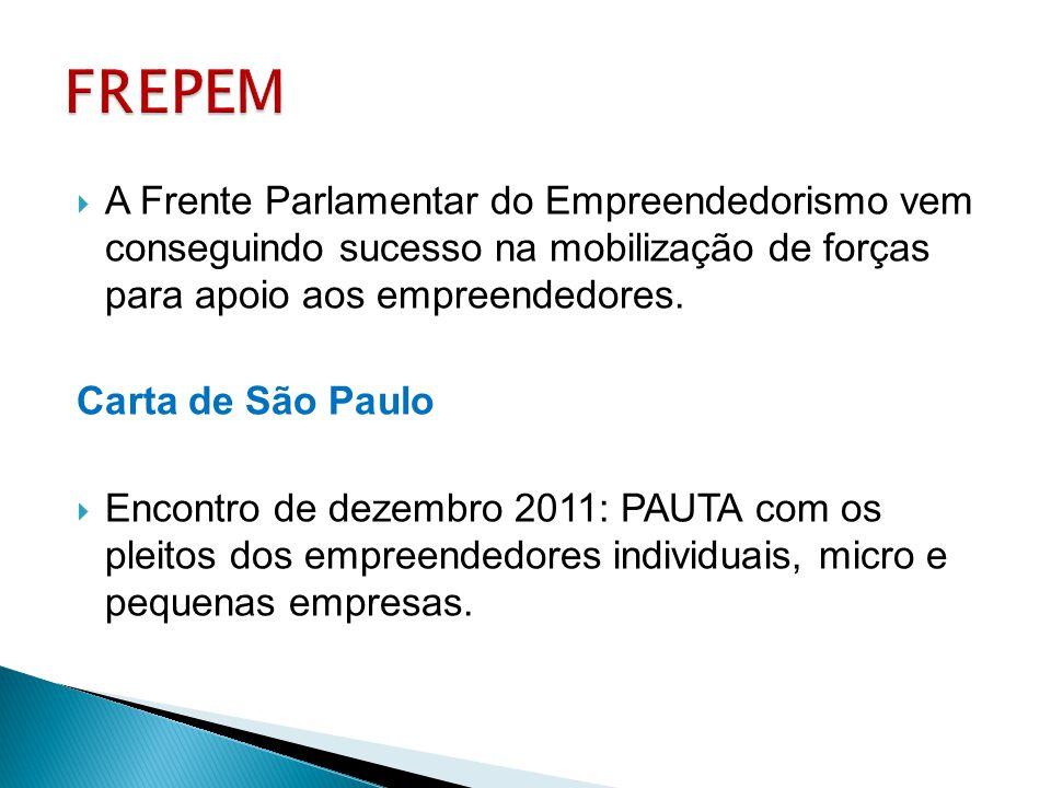  A Frente Parlamentar do Empreendedorismo vem conseguindo sucesso na mobilização de forças para apoio aos empreendedores. Carta de São Paulo  Encont