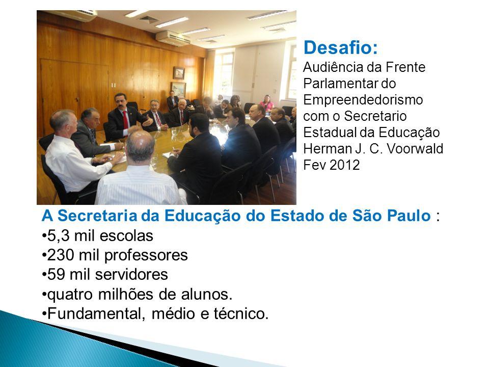 Desafio: Audiência da Frente Parlamentar do Empreendedorismo com o Secretario Estadual da Educação Herman J. C. Voorwald Fev 2012 A Secretaria da Educ
