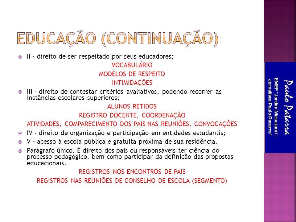  II - direito de ser respeitado por seus educadores; VOCABULÁRIO MODELOS DE RESPEITO INTIMIDAÇÕES  III - direito de contestar critérios avaliativos,