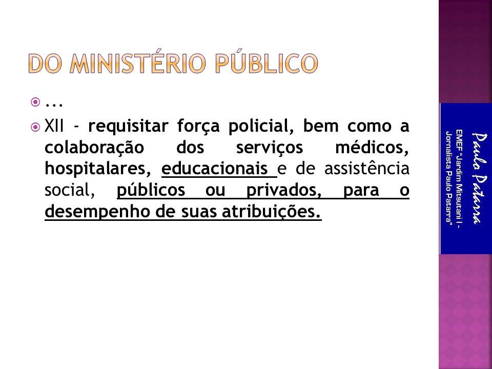 ...  XII - requisitar força policial, bem como a colaboração dos serviços médicos, hospitalares, educacionais e de assistência social, públicos ou p