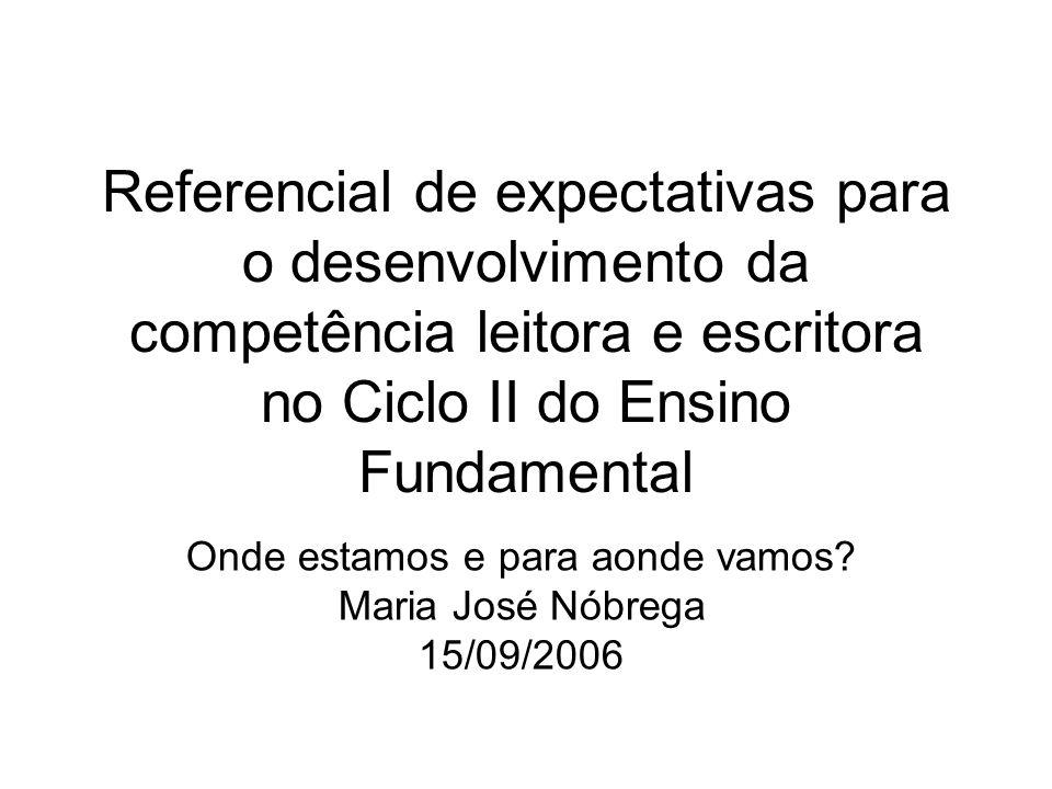 Referencial de expectativas para o desenvolvimento da competência leitora e escritora no Ciclo II do Ensino Fundamental Onde estamos e para aonde vamo