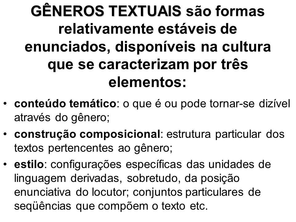GÊNEROS TEXTUAIS GÊNEROS TEXTUAIS são formas relativamente estáveis de enunciados, disponíveis na cultura que se caracterizam por três elementos: •con