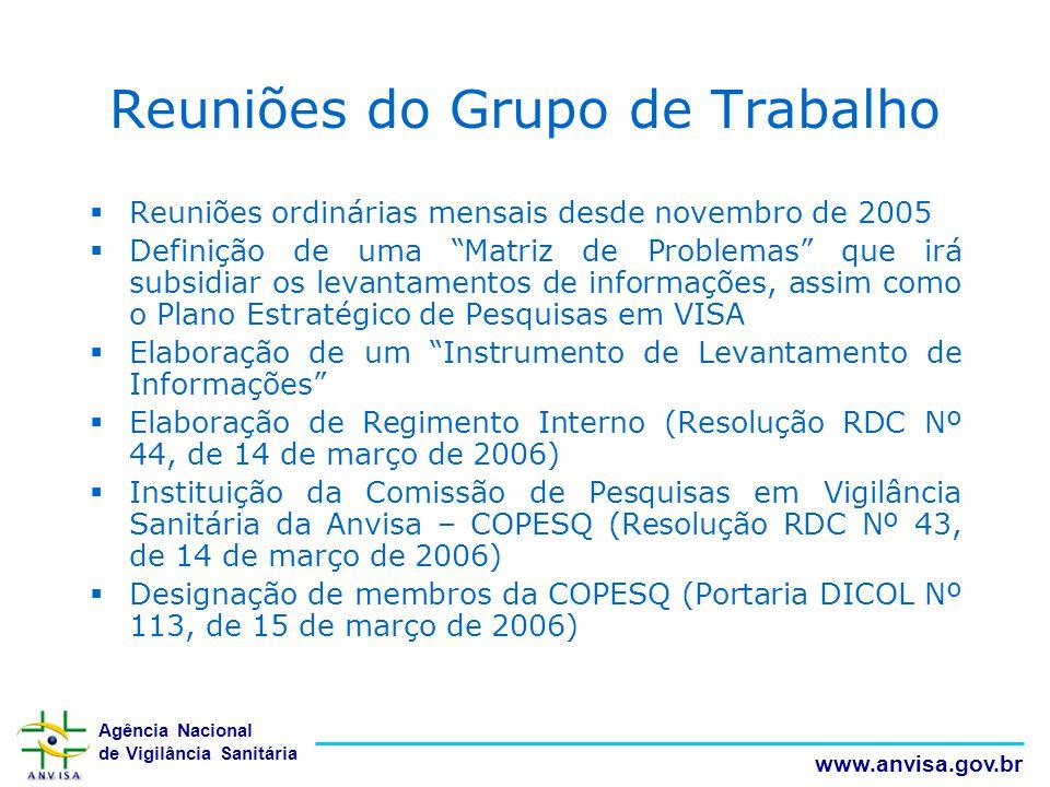 Agência Nacional de Vigilância Sanitária www.anvisa.gov.br Reuniões do Grupo de Trabalho  Reuniões ordinárias mensais desde novembro de 2005  Defini