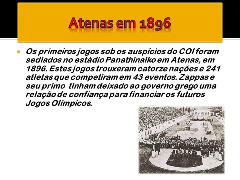  Os primeiros jogos sob os auspícios do COI foram sediados no estádio Panathinaiko em Atenas, em 1896. Estes jogos trouxeram catorze nações e 241 atl