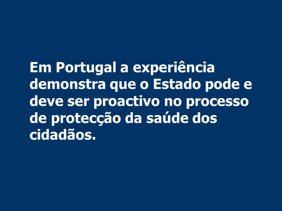 Em Portugal a experiência demonstra que o Estado pode e deve ser proactivo no processo de protecção da saúde dos cidadãos.