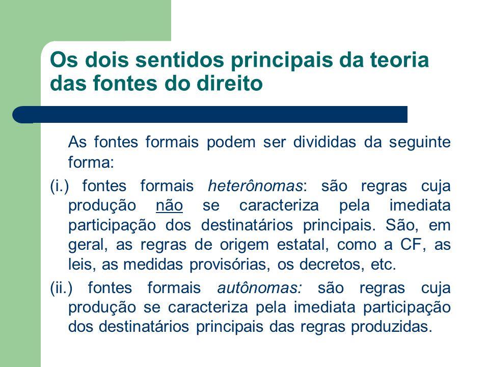 Os dois sentidos principais da teoria das fontes do direito As fontes formais podem ser divididas da seguinte forma: (i.) fontes formais heterônomas:
