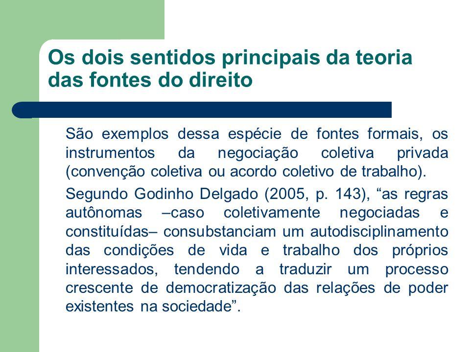 Os dois sentidos principais da teoria das fontes do direito São exemplos dessa espécie de fontes formais, os instrumentos da negociação coletiva priva