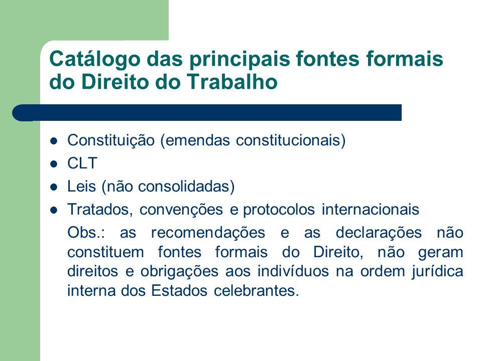 Catálogo das principais fontes formais do Direito do Trabalho  Constituição (emendas constitucionais)  CLT  Leis (não consolidadas)  Tratados, con