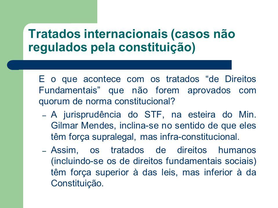 """Tratados internacionais (casos não regulados pela constituição) E o que acontece com os tratados """"de Direitos Fundamentais"""" que não forem aprovados co"""