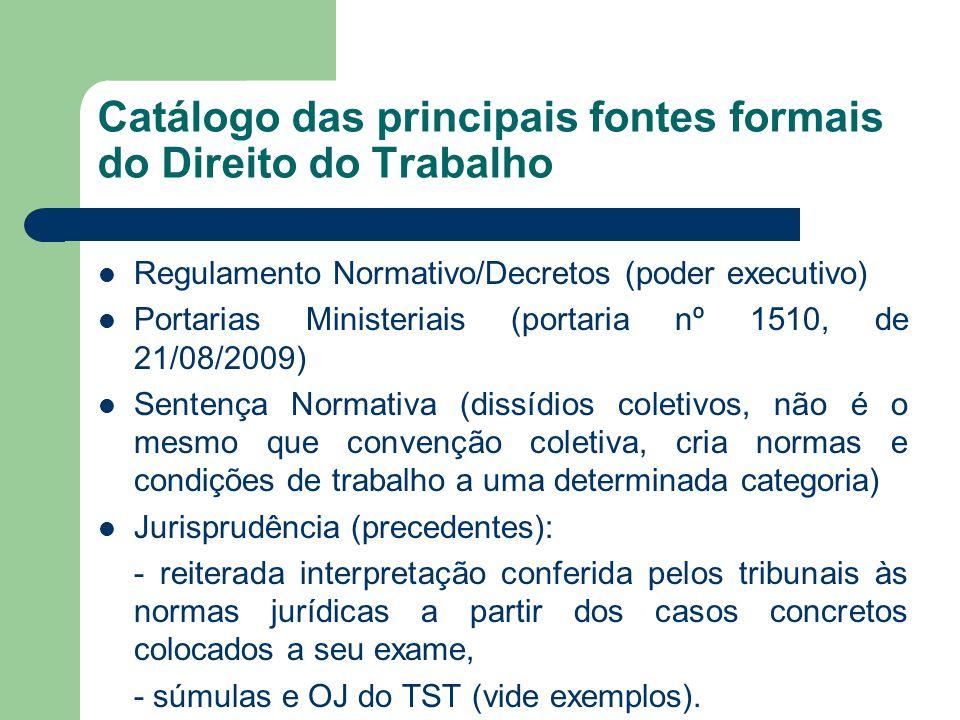 Catálogo das principais fontes formais do Direito do Trabalho  Regulamento Normativo/Decretos (poder executivo)  Portarias Ministeriais (portaria nº