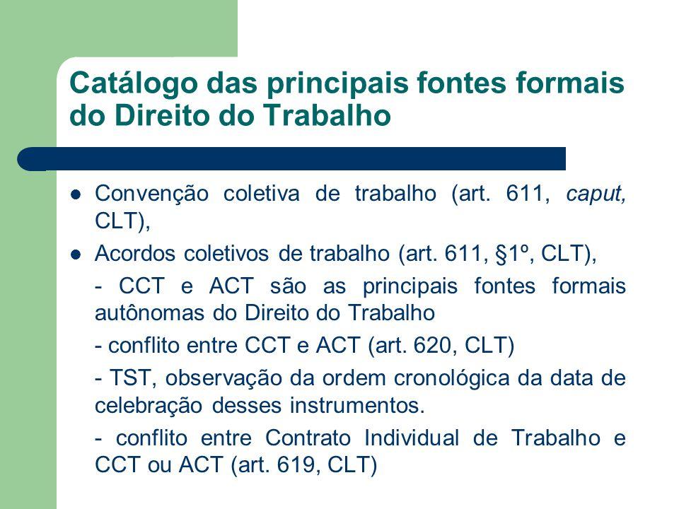 Catálogo das principais fontes formais do Direito do Trabalho  Convenção coletiva de trabalho (art. 611, caput, CLT),  Acordos coletivos de trabalho