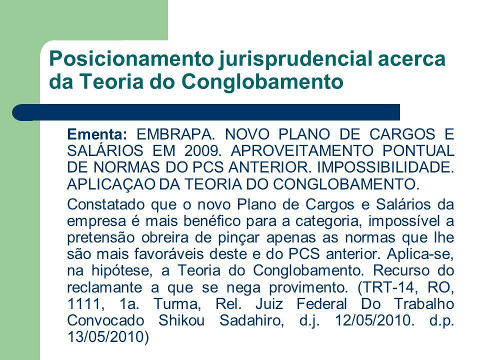 Posicionamento jurisprudencial acerca da Teoria do Conglobamento Ementa: EMBRAPA. NOVO PLANO DE CARGOS E SALÁRIOS EM 2009. APROVEITAMENTO PONTUAL DE N