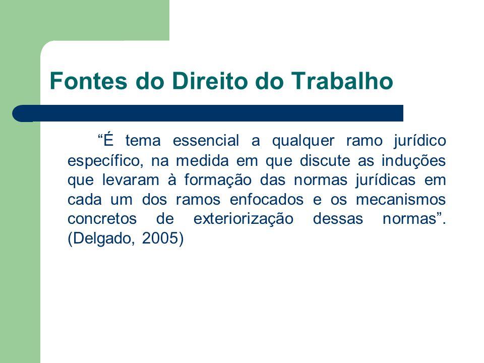 """Fontes do Direito do Trabalho """"É tema essencial a qualquer ramo jurídico específico, na medida em que discute as induções que levaram à formação das n"""