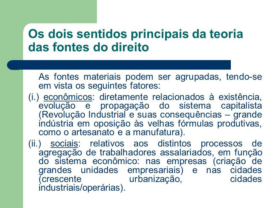 Os dois sentidos principais da teoria das fontes do direito As fontes materiais podem ser agrupadas, tendo-se em vista os seguintes fatores: (i.) econ