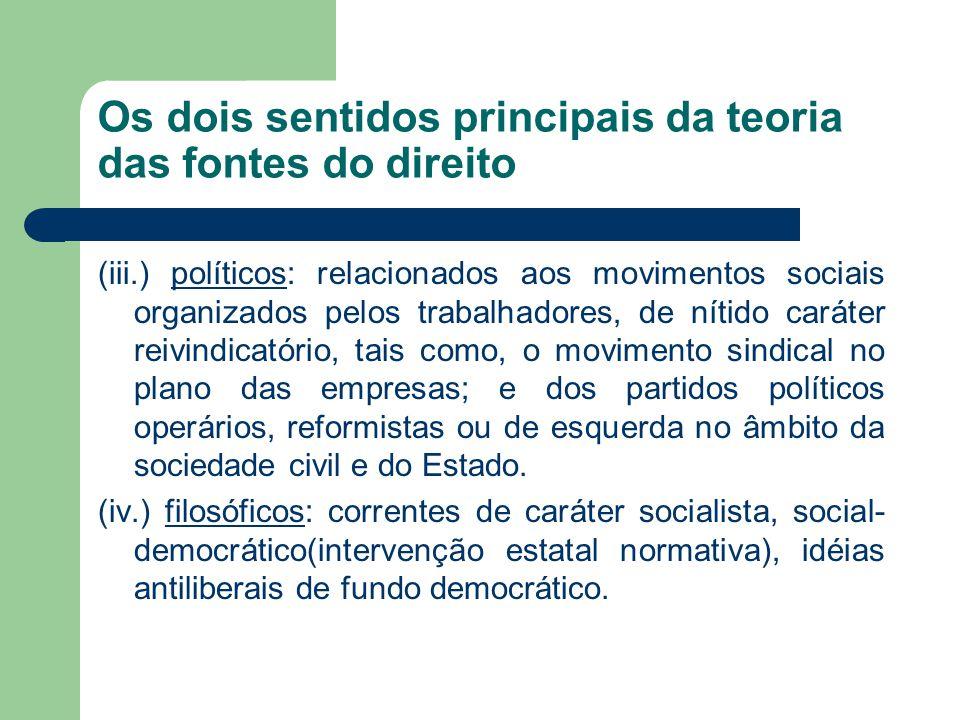 Os dois sentidos principais da teoria das fontes do direito (iii.) políticos: relacionados aos movimentos sociais organizados pelos trabalhadores, de