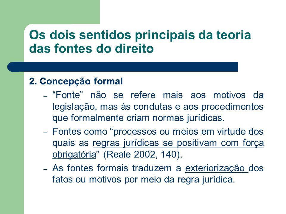 """Os dois sentidos principais da teoria das fontes do direito 2. Concepção formal – """"Fonte"""" não se refere mais aos motivos da legislação, mas às conduta"""