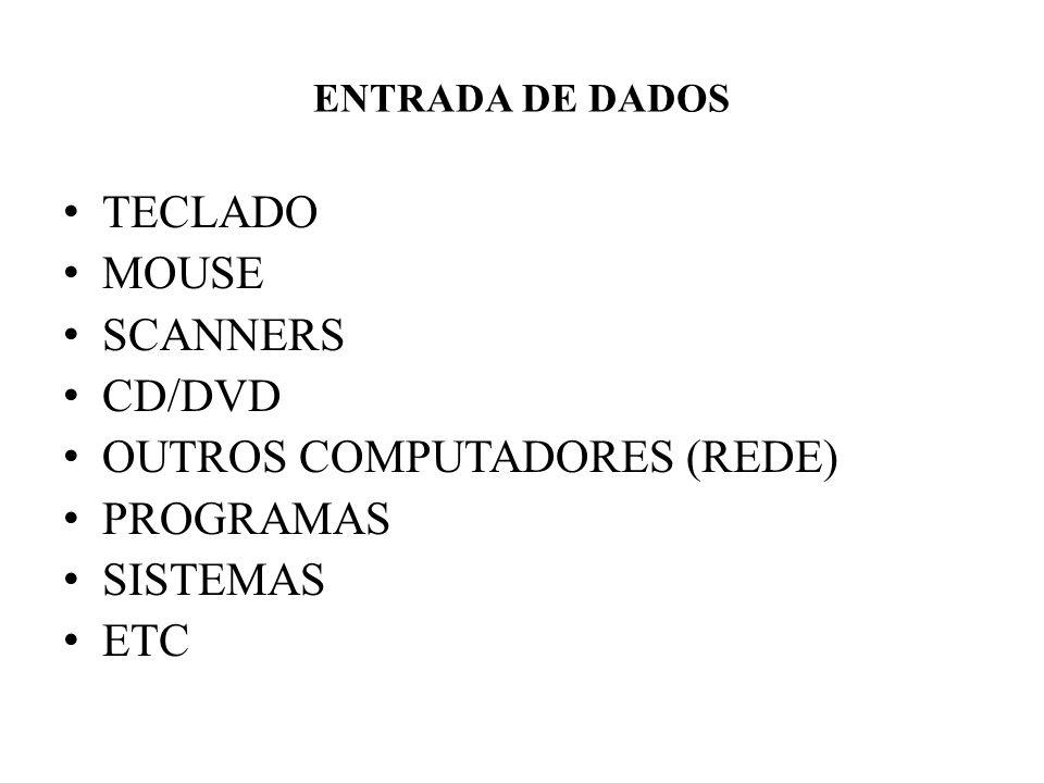 ENTRADA DE DADOS • TECLADO • MOUSE • SCANNERS • CD/DVD • OUTROS COMPUTADORES (REDE) • PROGRAMAS • SISTEMAS • ETC